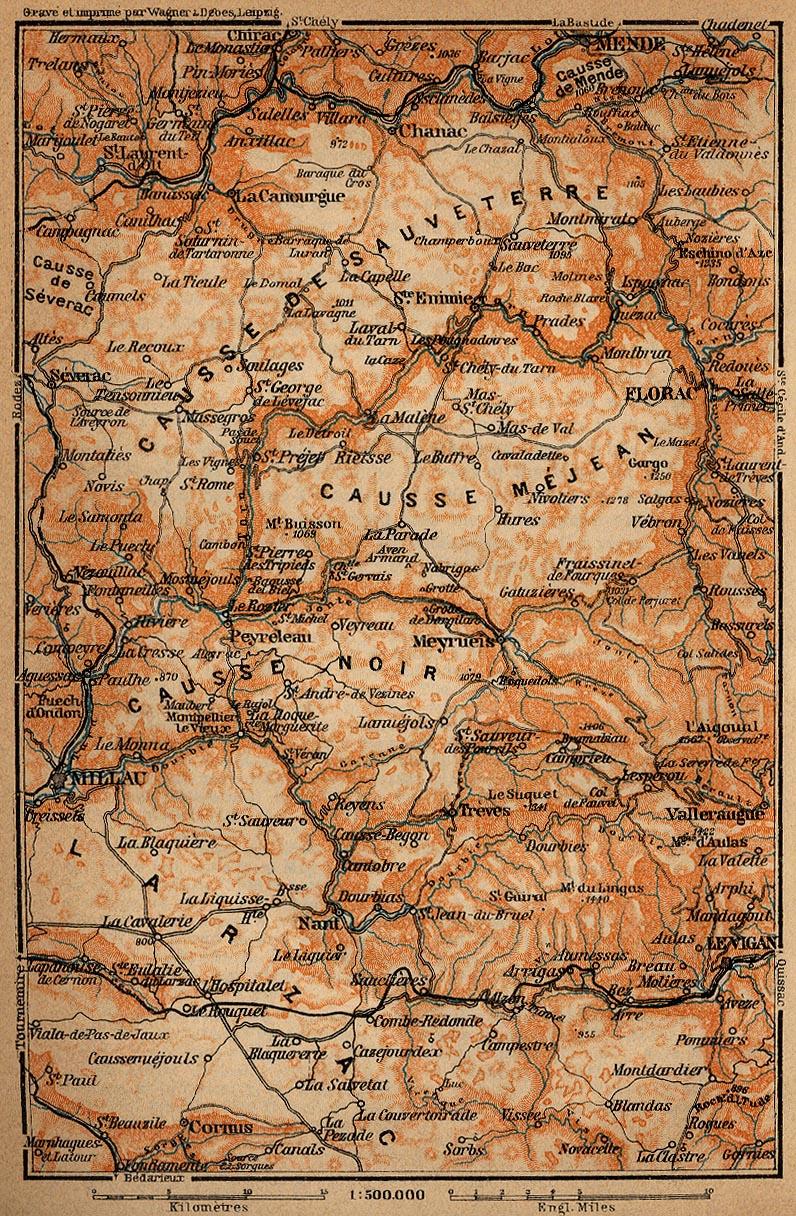 Mapa de los Causses, Francia 1914