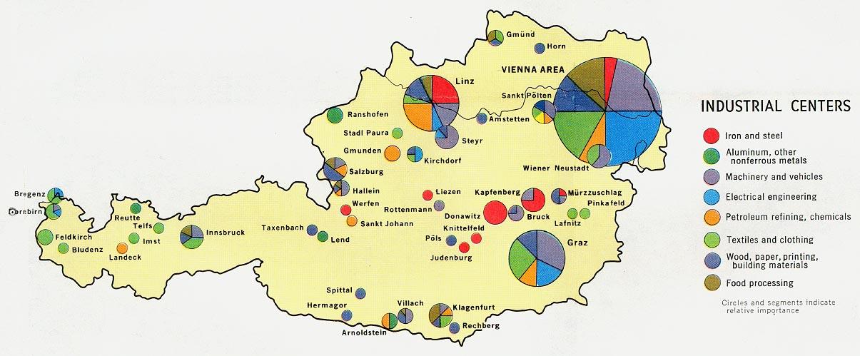 Mapa de los Centros Industriales de Austria