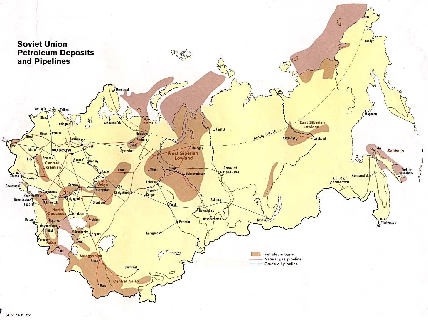 Mapa de los Depósitos de Petróleo y Oleoductos en la ex Unión Soviética