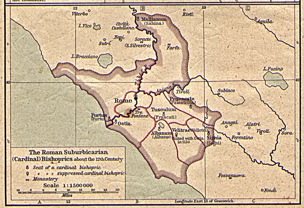 Mapa de los Diócesis Suburbicarias de Roma Circa el Siglo 12