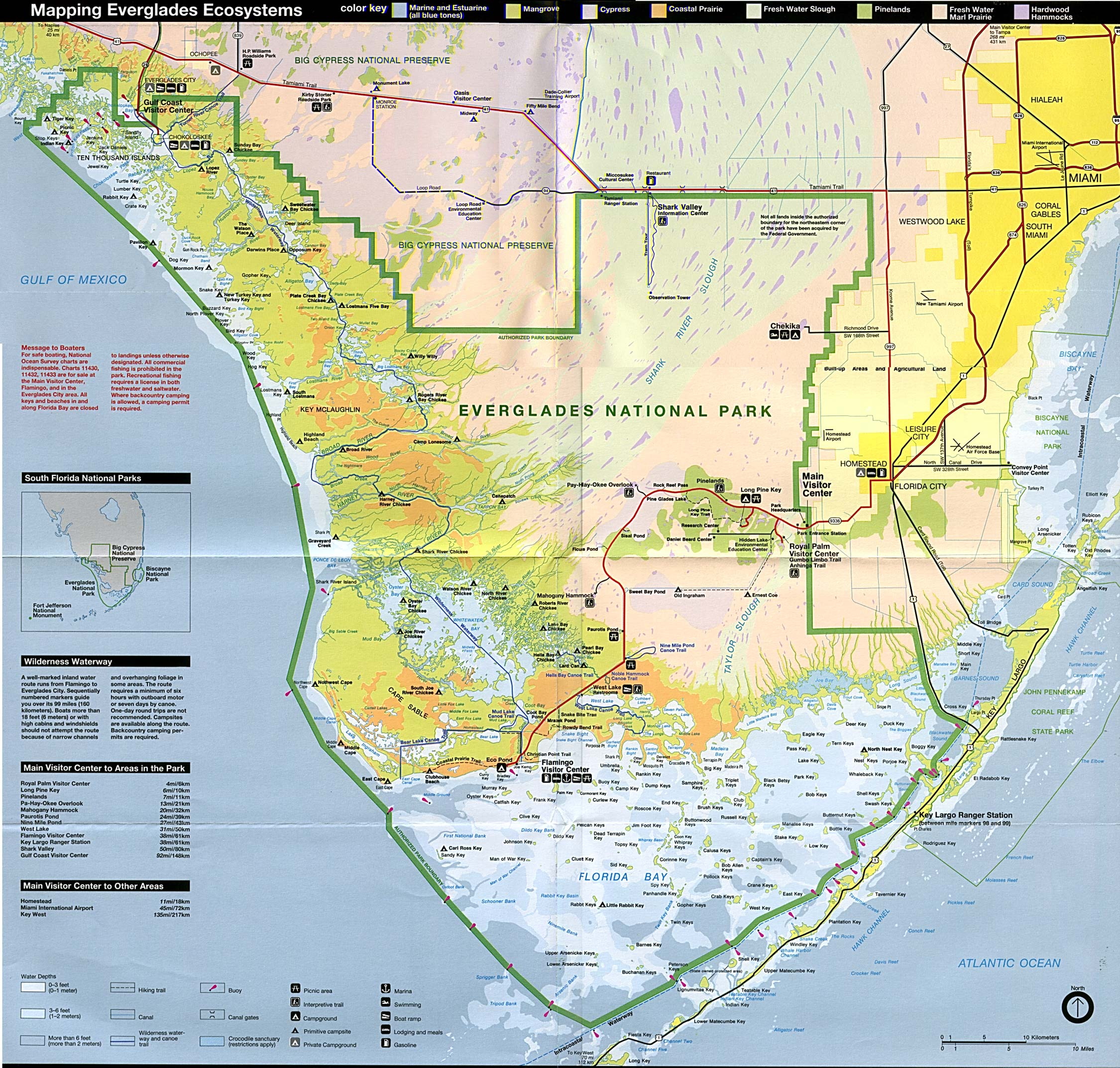 Everglades National Park Ecosystems Map, Florida, United States