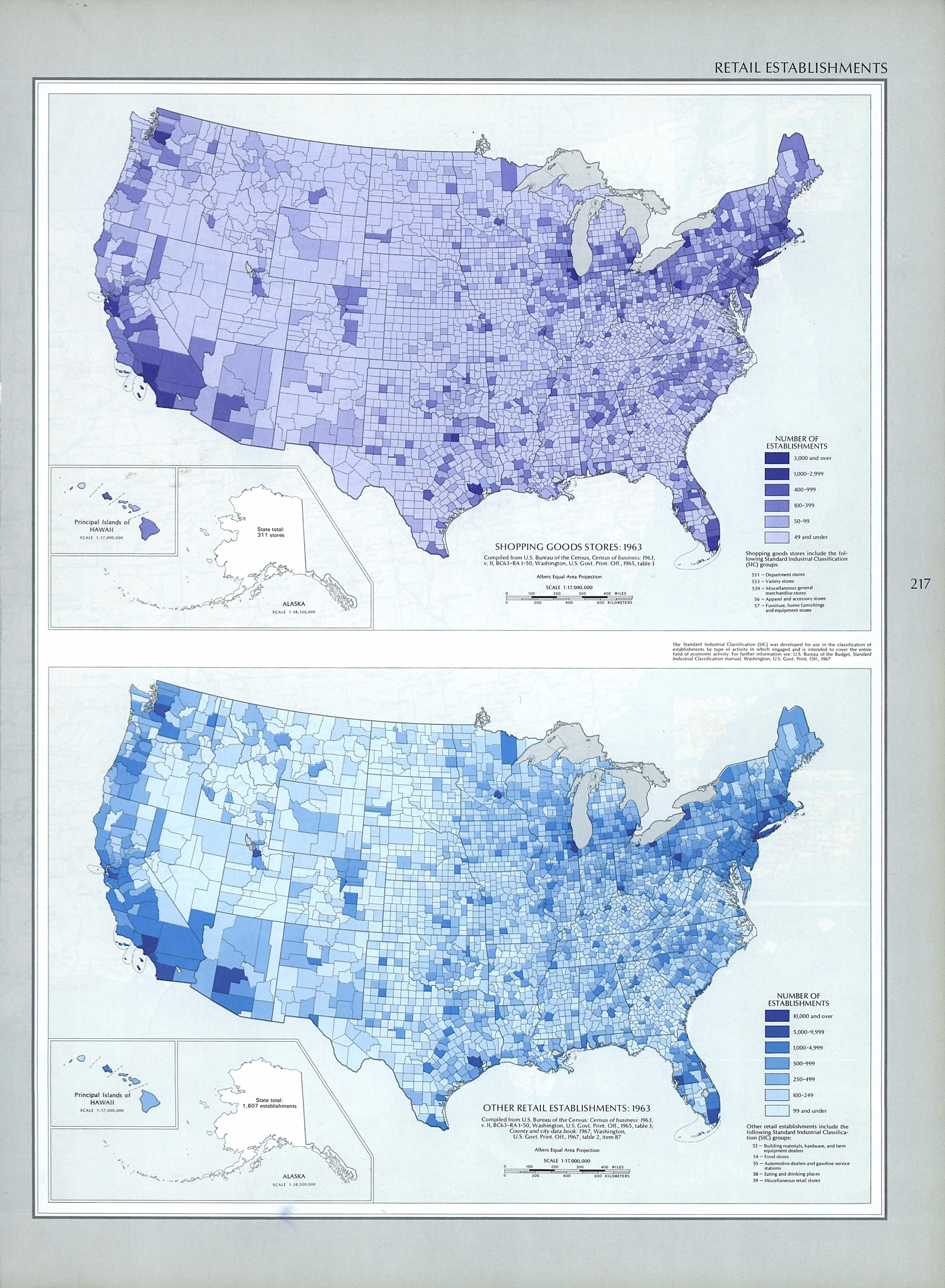 Mapa de los Establecimientos de Venta al por Menor, Estados Unidos