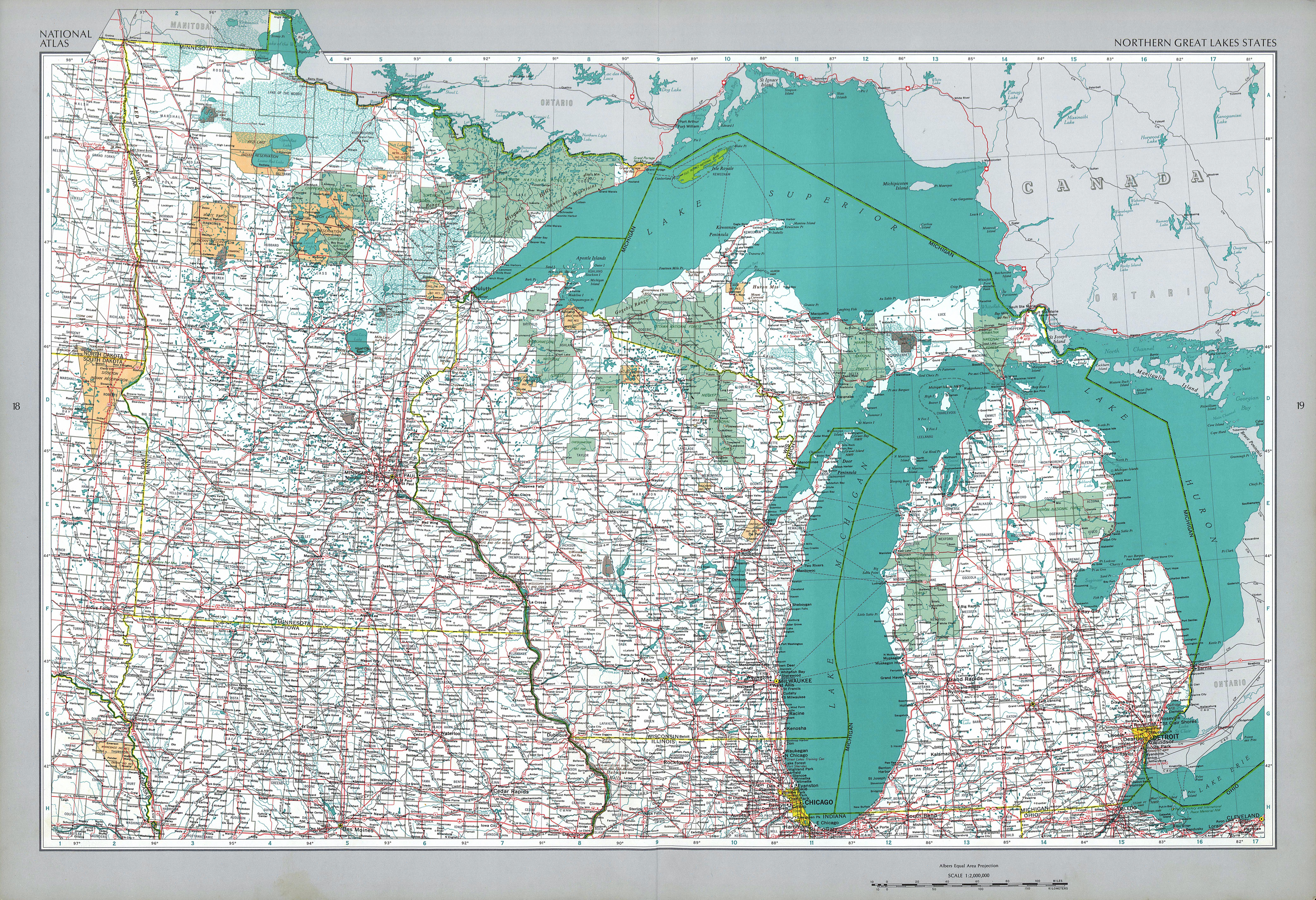 Mapa de los Estados Norteños de la Región de los Grandes Lagos, Estados Unidos