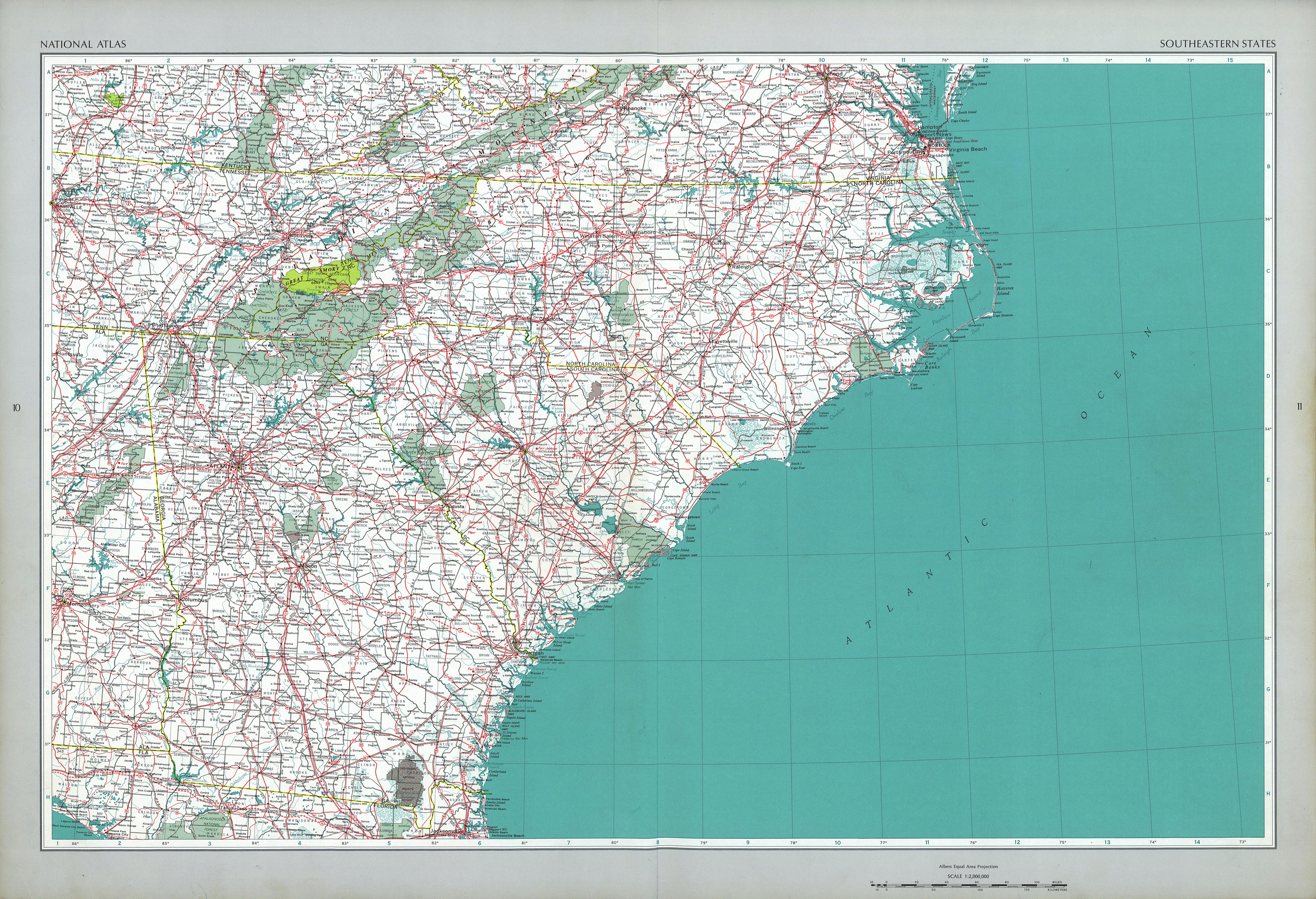 Mapa de los Estados Surorientales de Estados Unidos