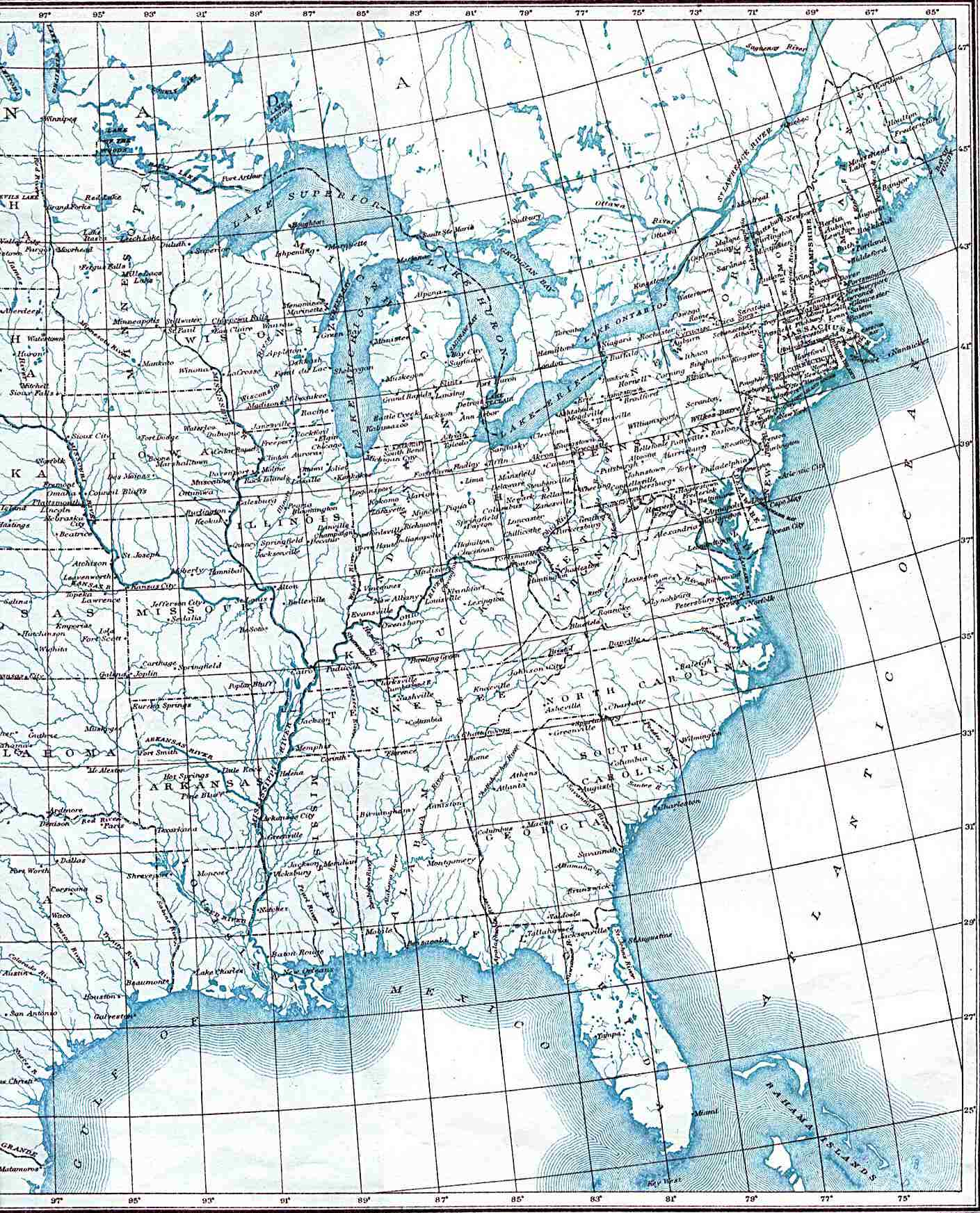 Eastern United States Map 1906