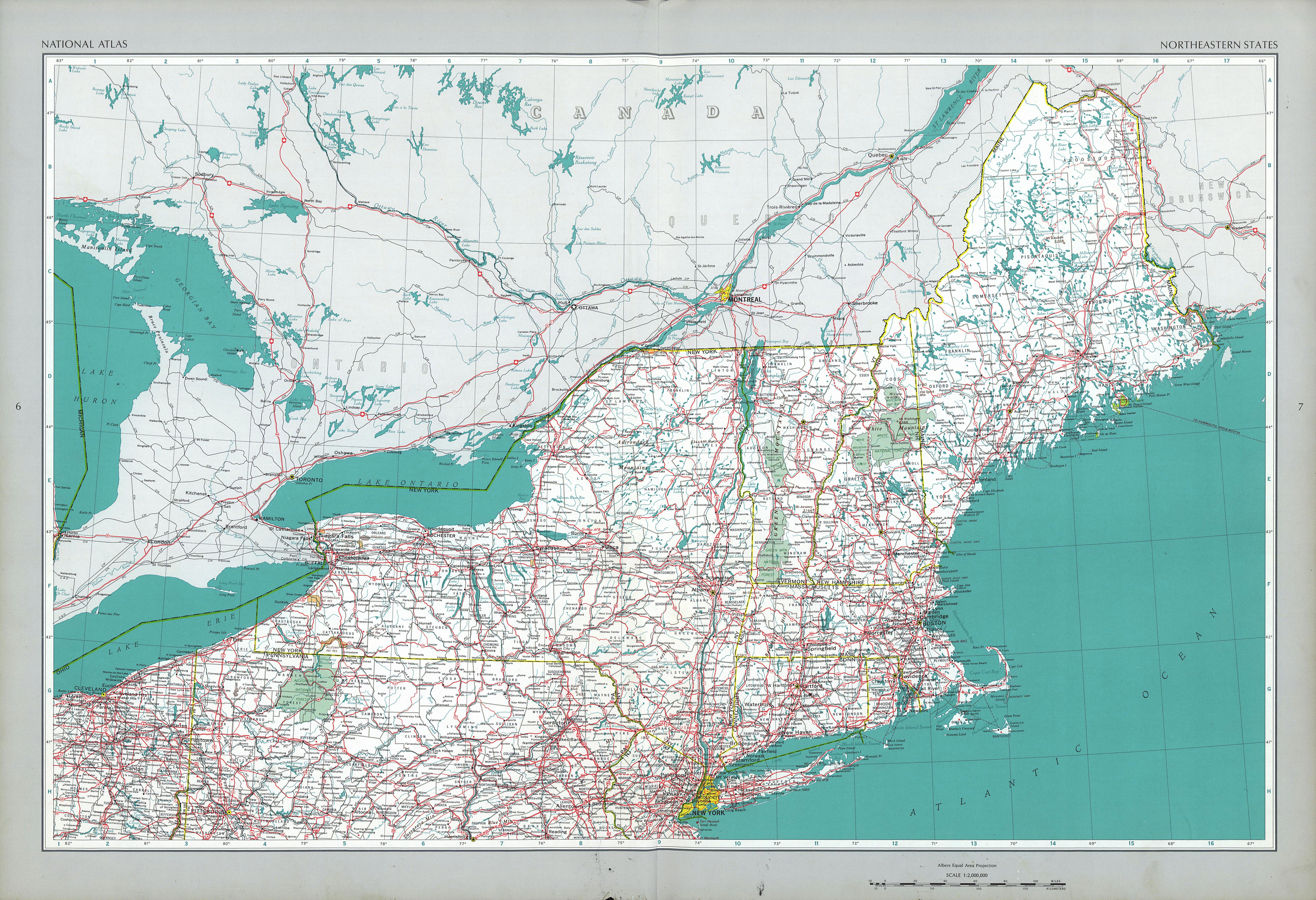 Mapa de los Estados del Noreste de Estados Unidos