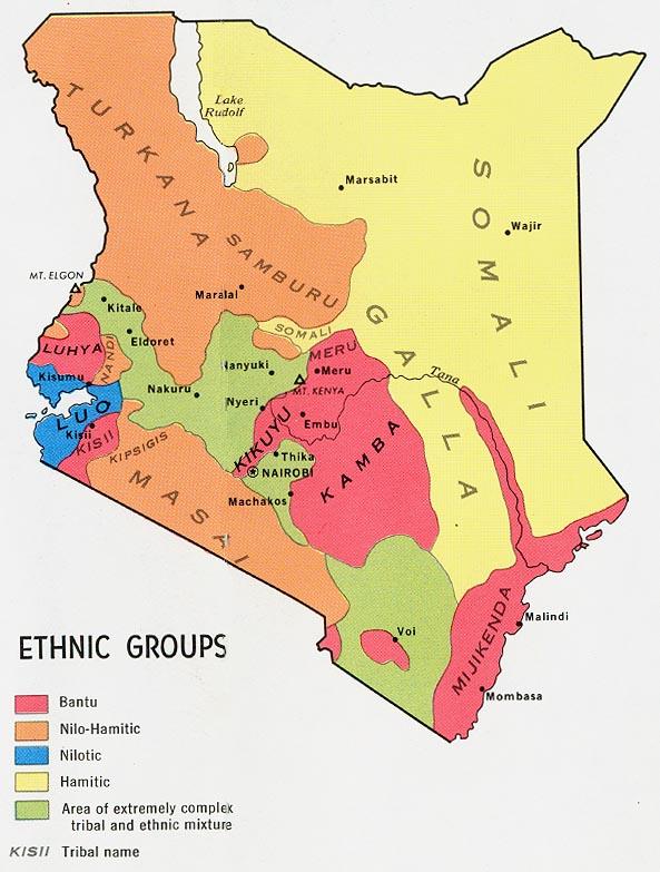 Mapa de los Grupos Étnicos de Kenia