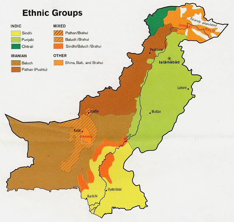 Pakistan Ethnic Groups Map