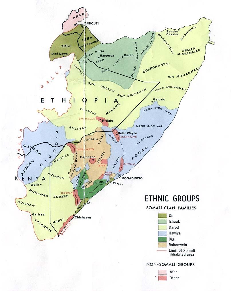 Mapa de los Grupos Étnicos de Somalia