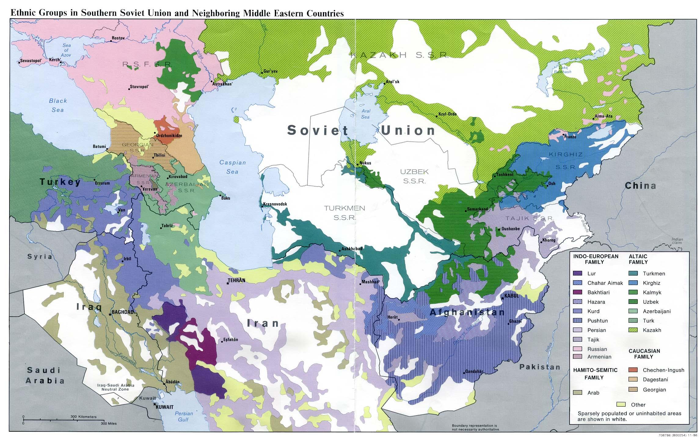 Mapa de los Grupos Étnicos del sur de la Unión Soviética y de los Países Vecinos del Oriente Medio