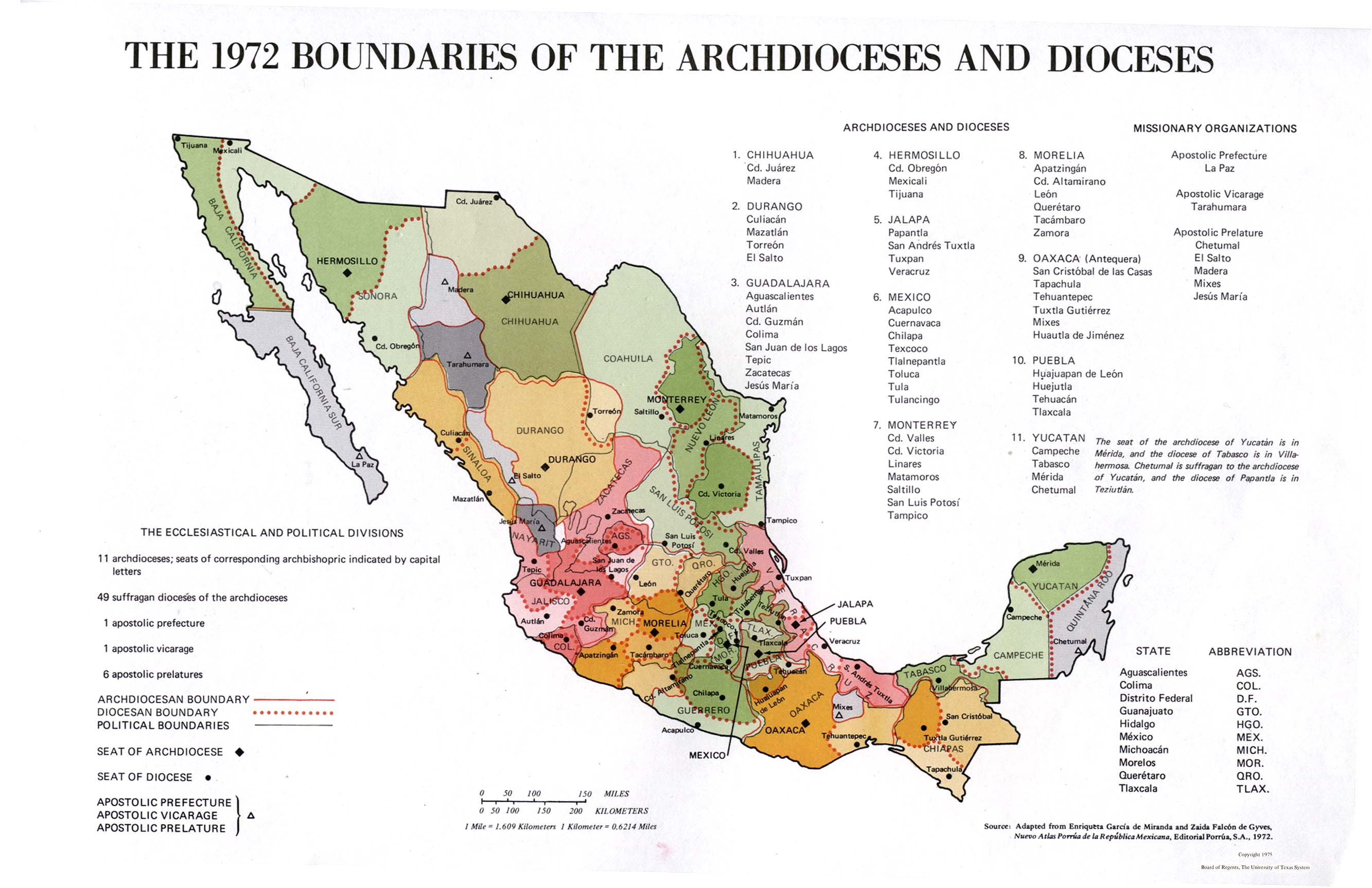 Boundaries of Archdioceses and Dioceses Map, Mexico