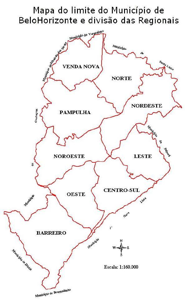 Mapa de los Limites del Município de Belo Horizonte, Brasil