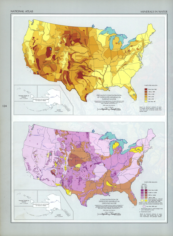 Mapa de los Minerales en el Agua, Estados Unidos
