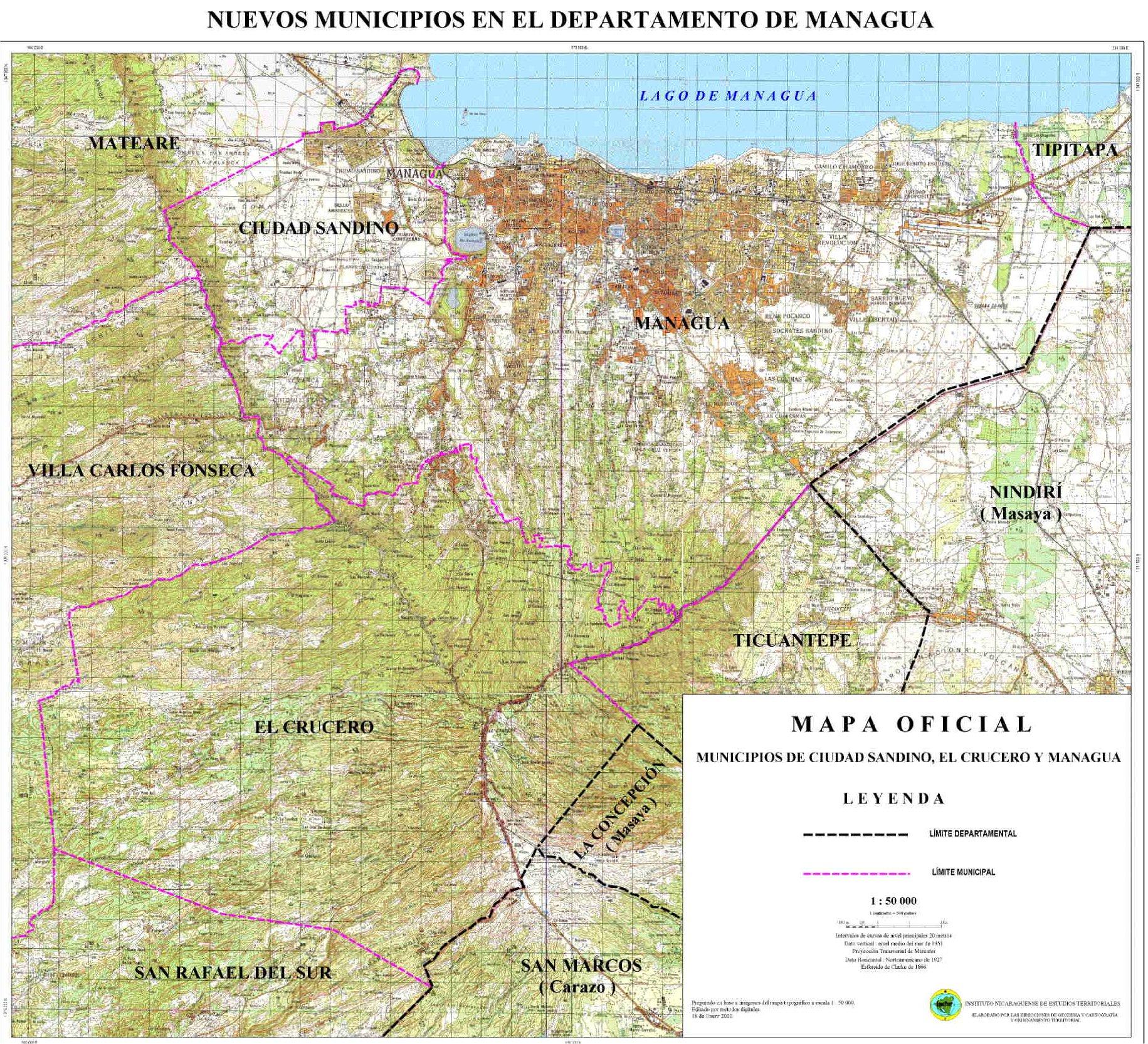 Mapa de los Municipios de Ciudad Sandino, El Crucero y Managua, Nicaragua