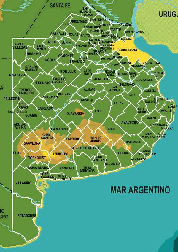 Municipalities Division Map, Buenos Aires Province, Argentina
