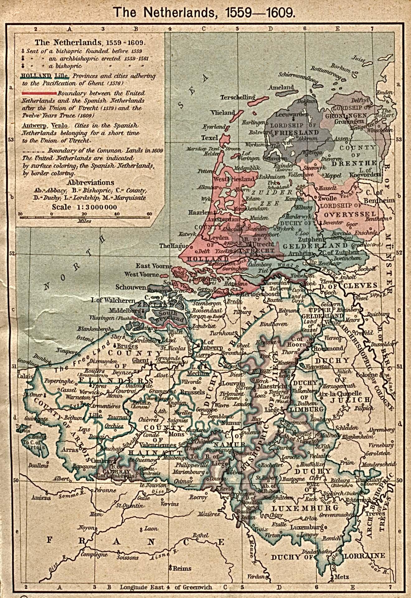 Mapa de los Países Bajos 1559 - 1609