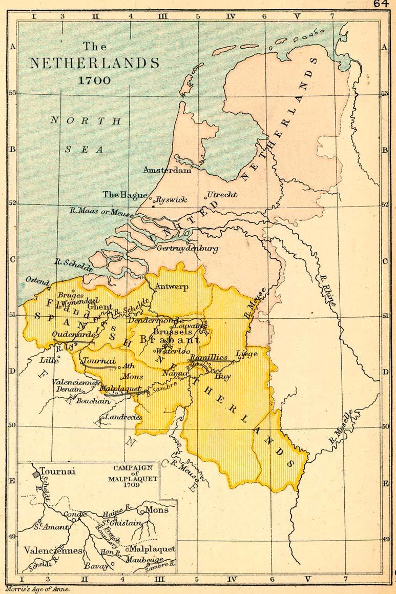Mapa de los Países Bajos en 1700