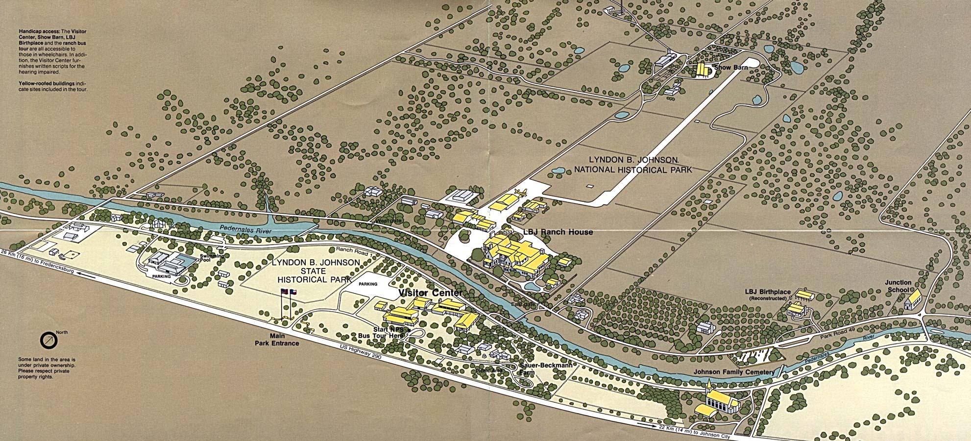 Mapa de los Parques Nacional Histórico Lyndon B. Johnson y Estatal Histórico LBJ Ranch, Estados Unidos