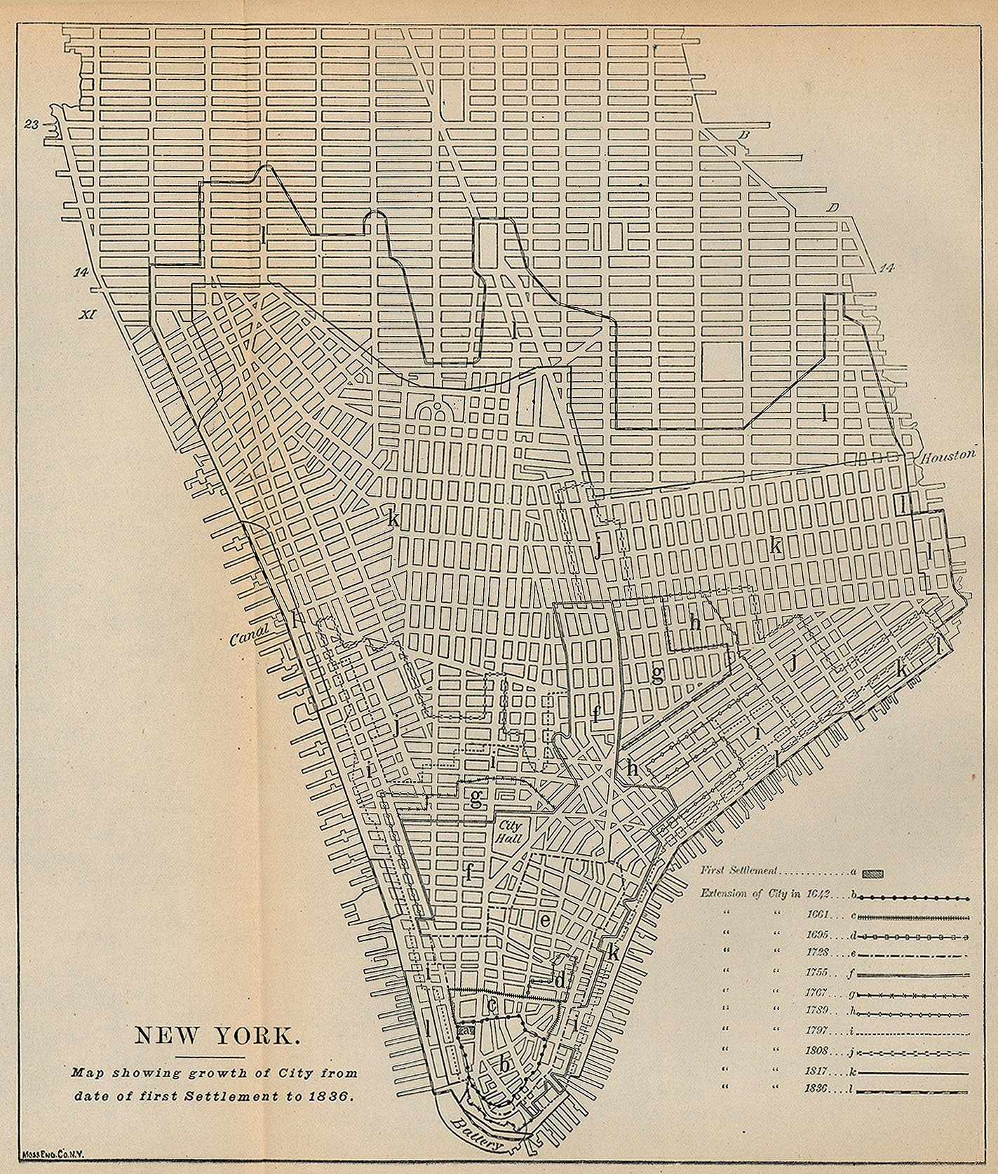 New York City First Settlement Map, New York, United States 1836