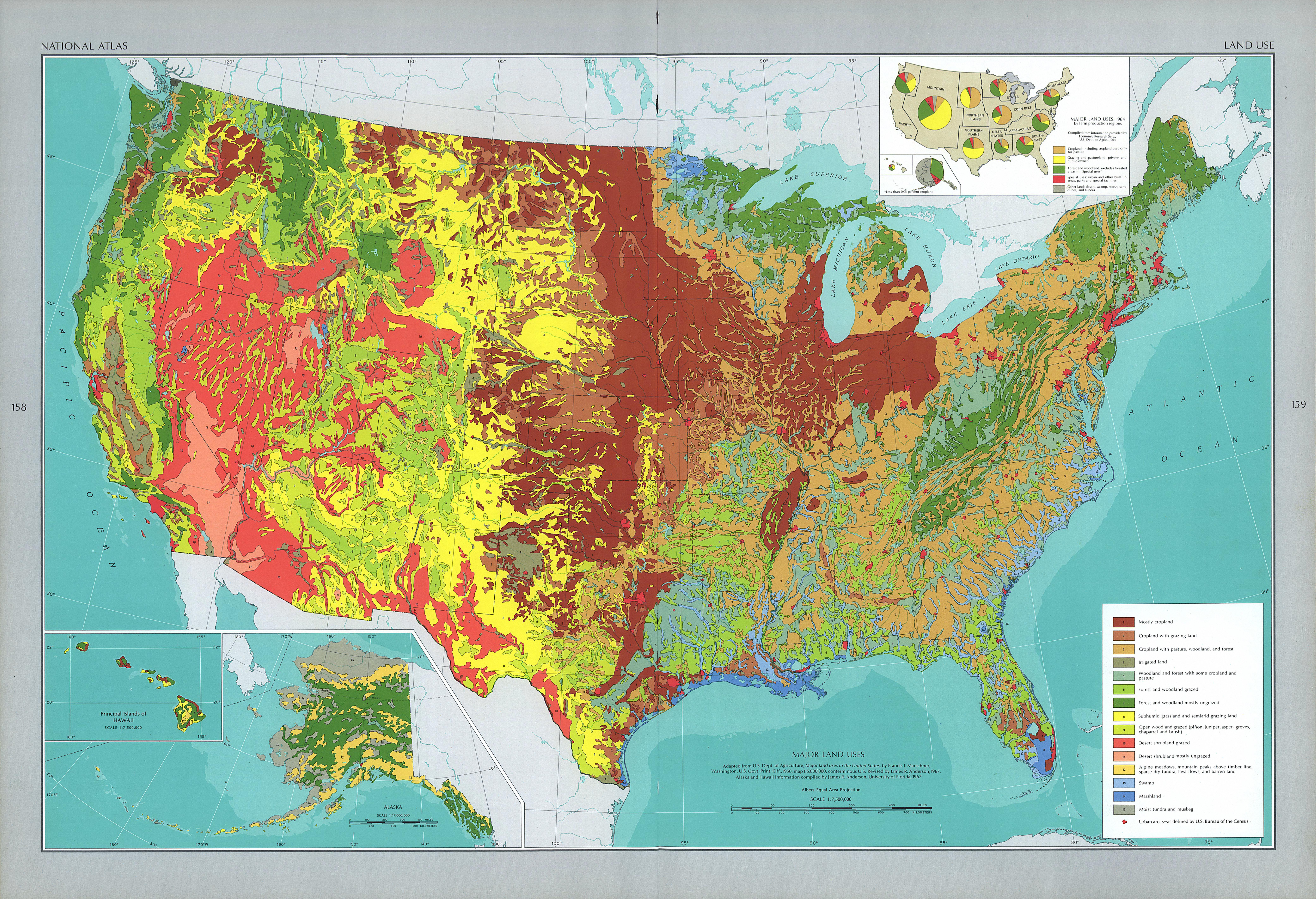 Mapa de los Principales Usos de la Tierra en Estados Unidos