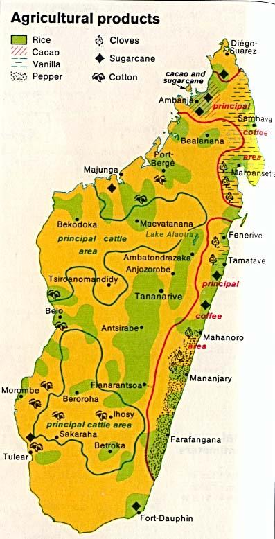 Mapa de los Productos Agrícolas de Madagascar