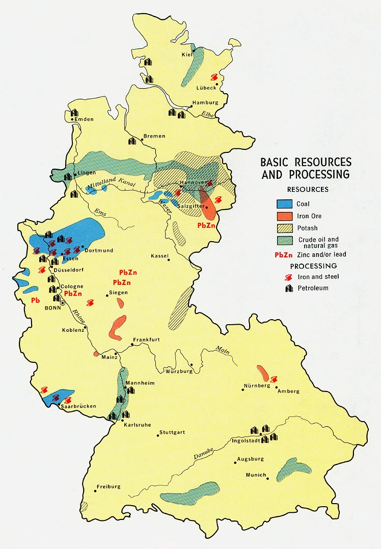 Mapa de los Recursos Naturales de la Ex Alemania Occidental 1972