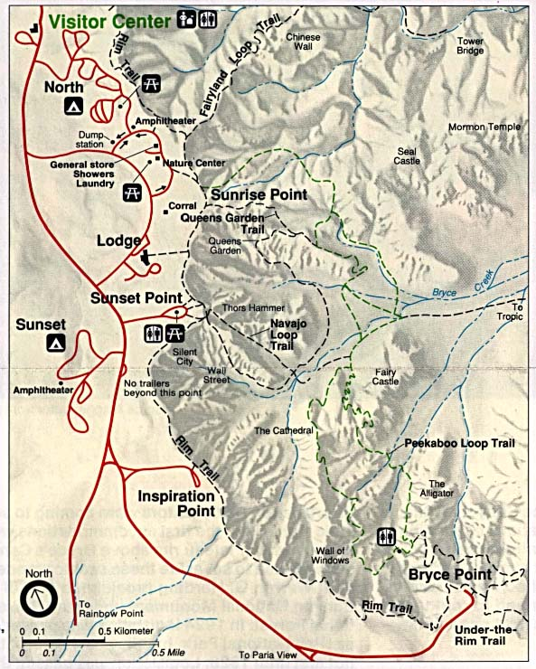 Trail Map, Bryce Canyon National Park, Utah, United States