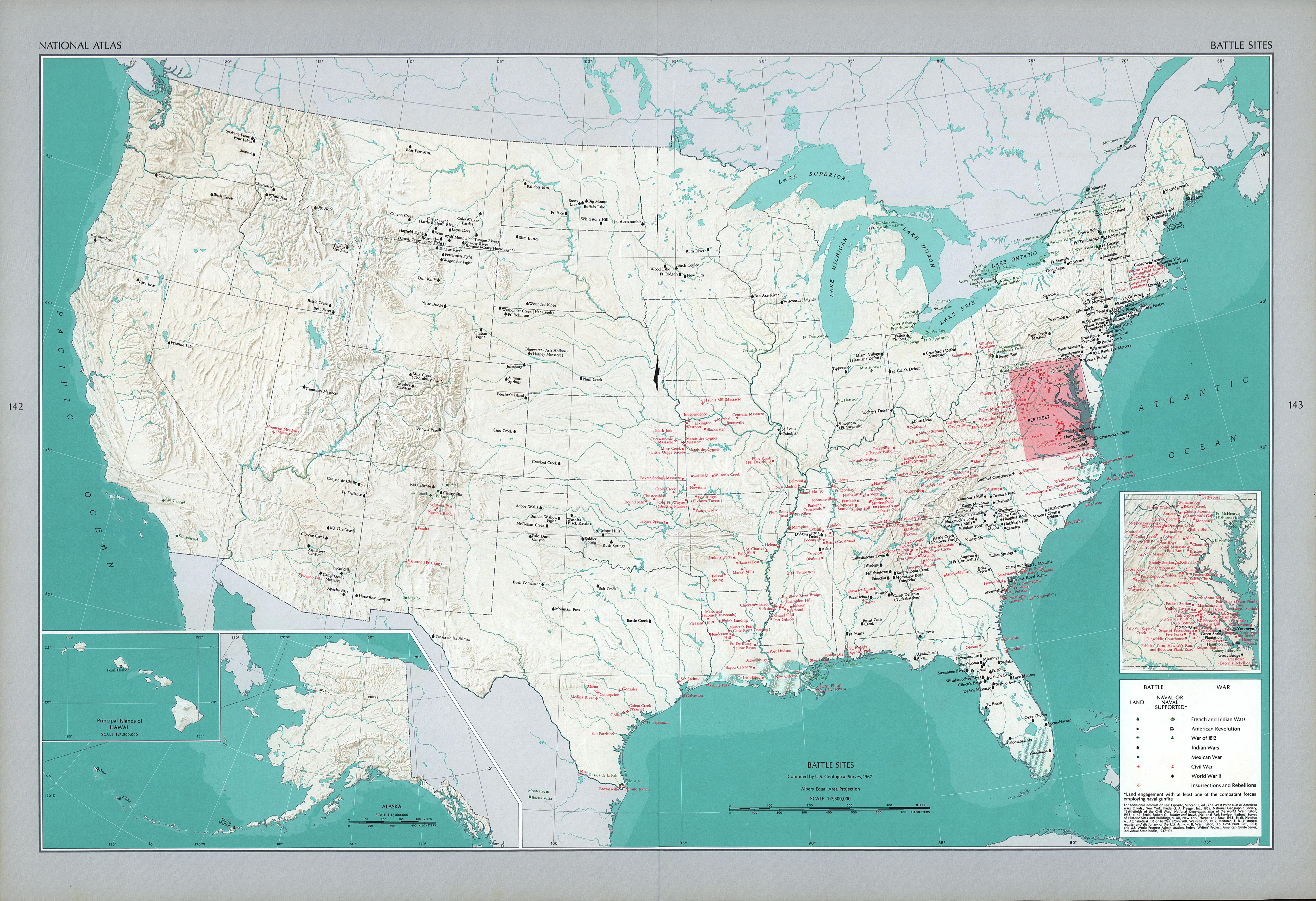Mapa de los Sitios Históricos de las Principales Batallas, Estados Unidos