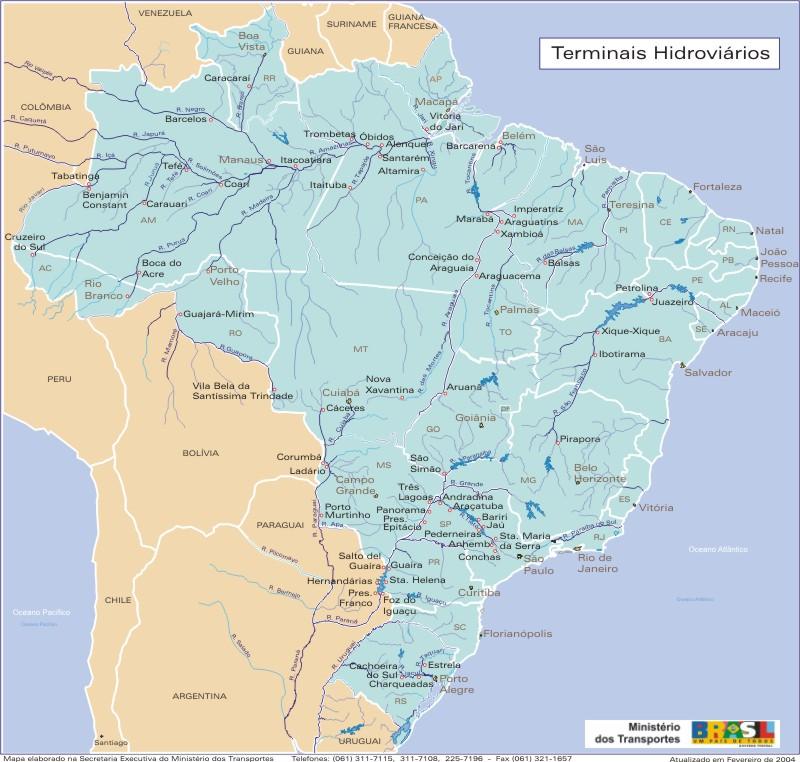 Mapa de los Terminales Hidroviarios, Brasil