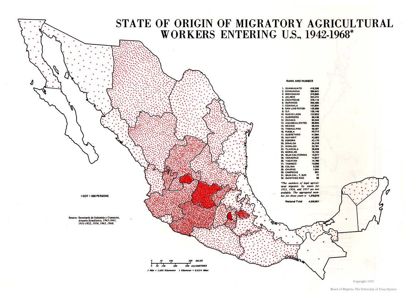 Map of Migratory Agricultural Workers Entering U.S. per State of Origin, Mexico 1942 - 1968