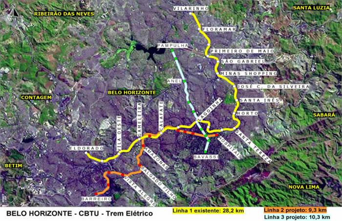 Mapa de los Trenes de Belo Horizonte, Estado de Minas Gerais, Brasil