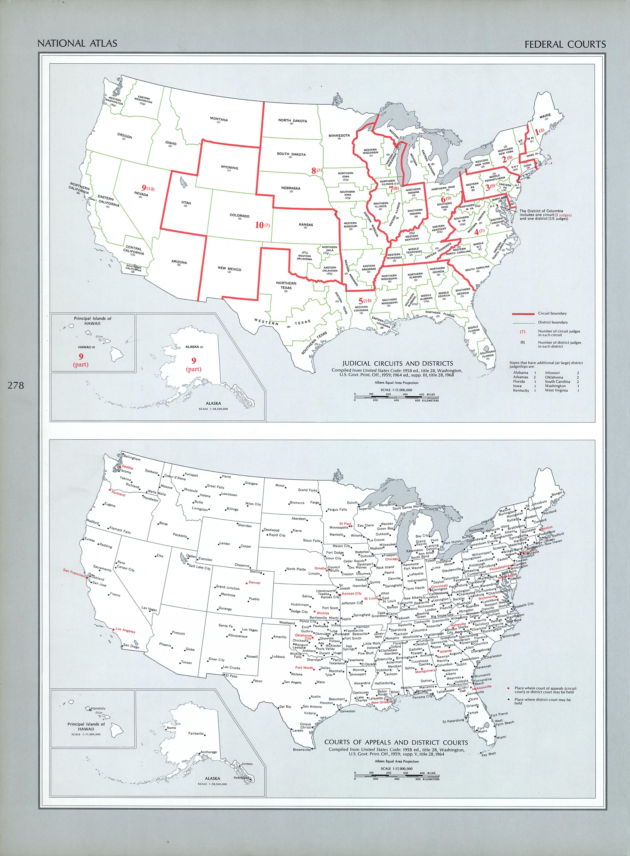 Mapa de los Tribunales Federales, Estados Unidos