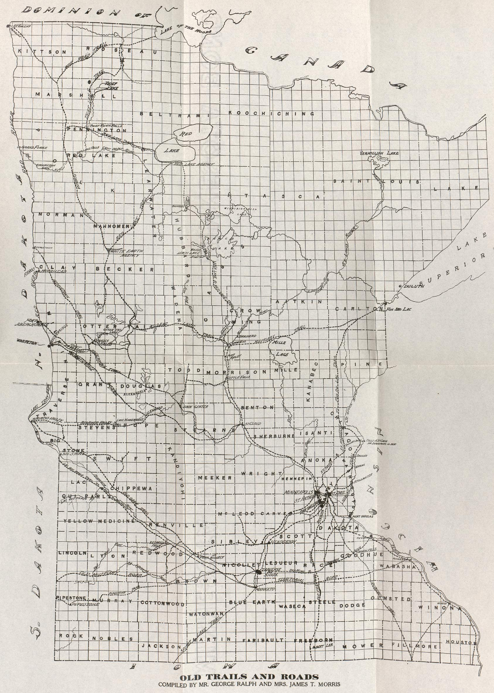 Minnesota Old Trails and Roads Map, United States 1914