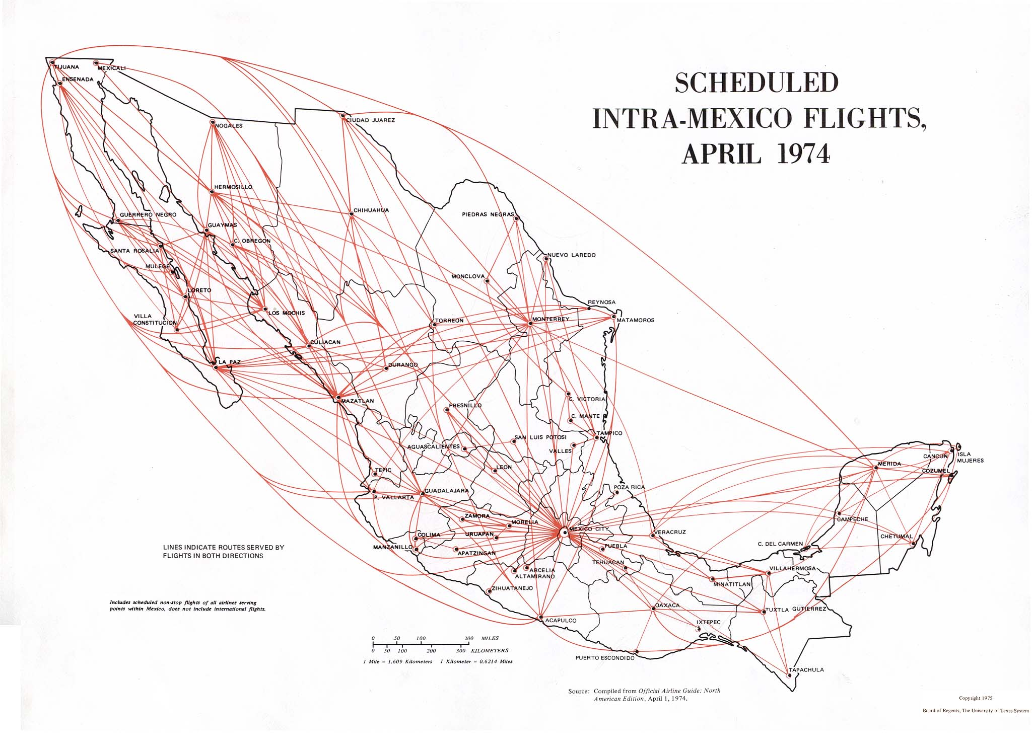 Map of  Scheduled Intra-Mexico Flights, Mexico