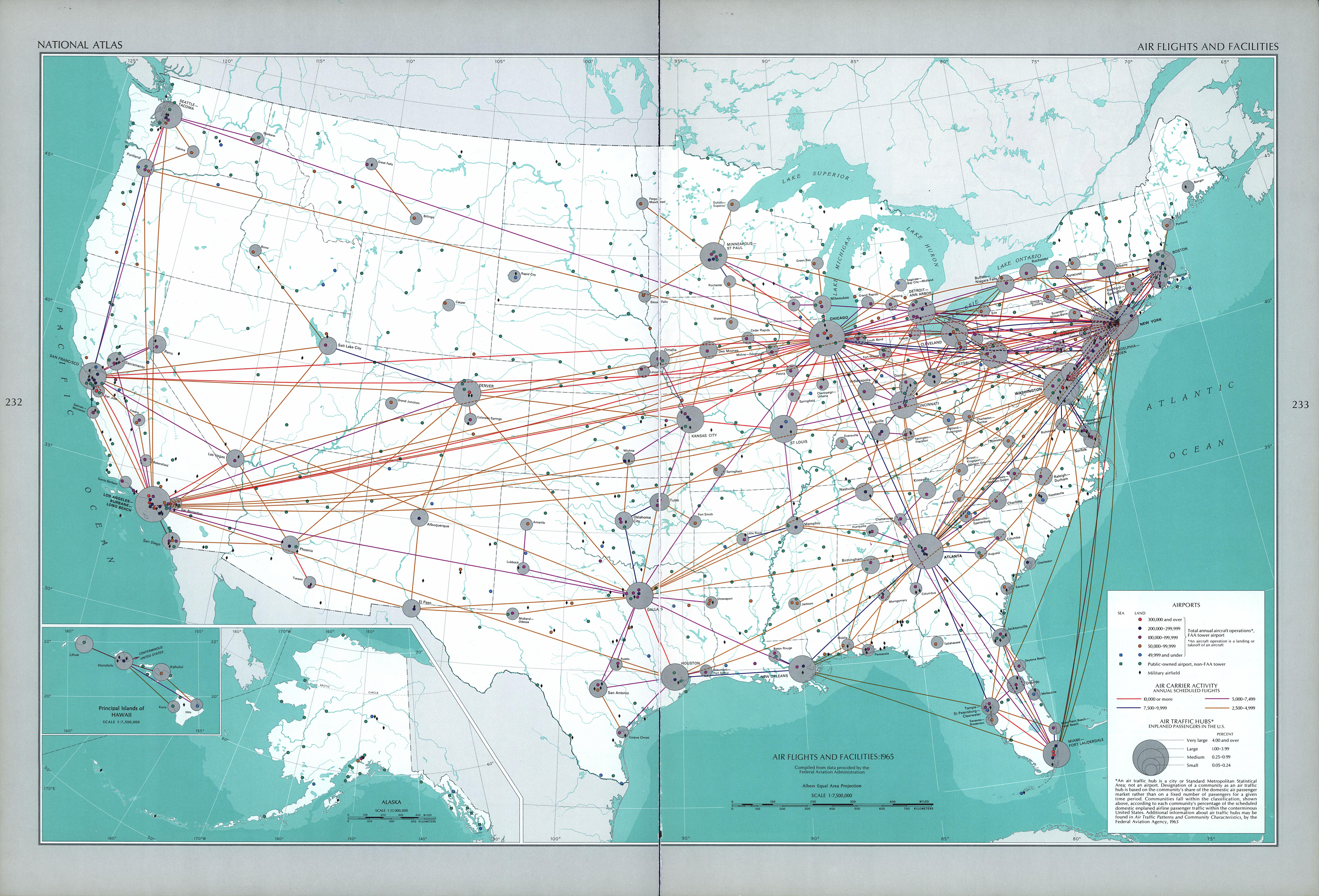 United States Air Flights and Facilities Map