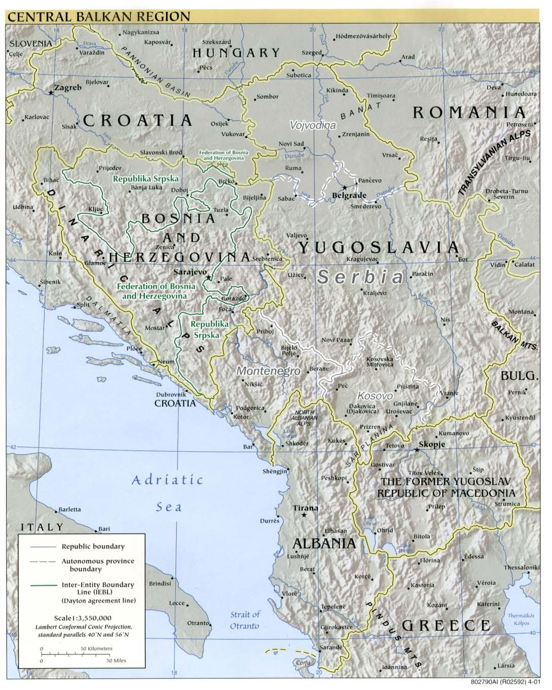 Western Balkans Relief Map 2001