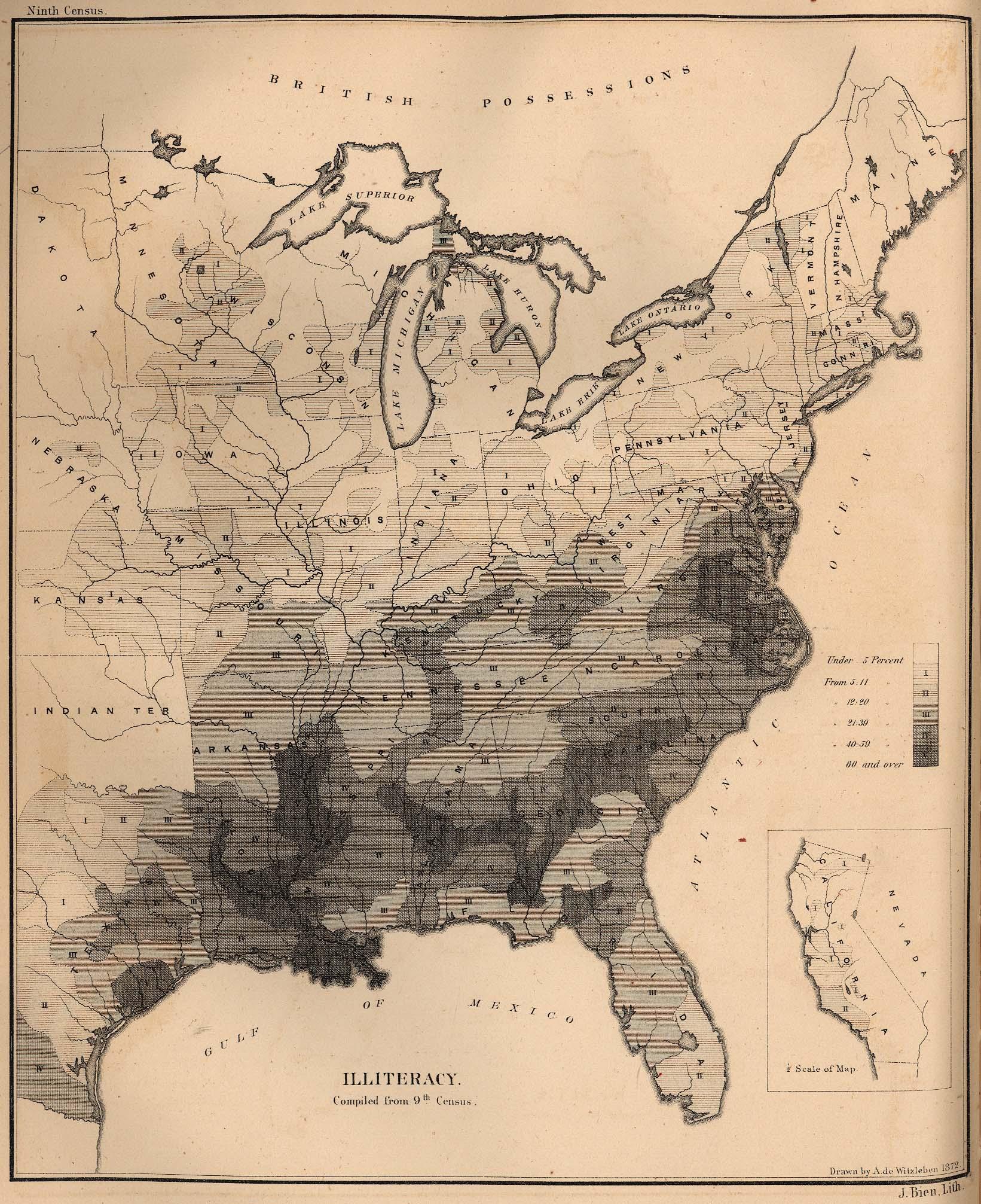 Mapa del Analfabetismo en Estados Unidos 1872