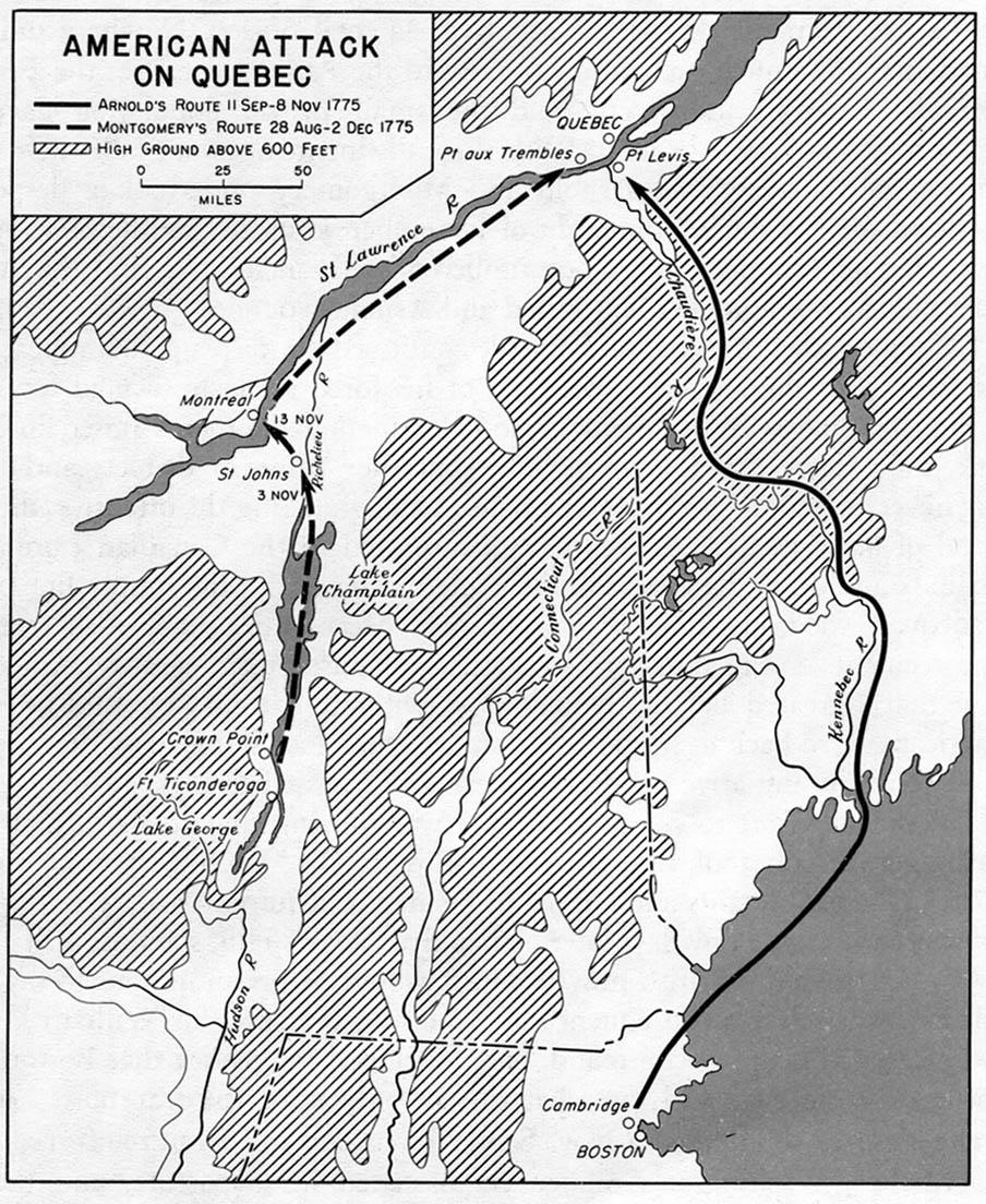 Mapa del Ataque de los Independentistas Norteamericanos contra Quebec 1775, Guerra de la Independencia