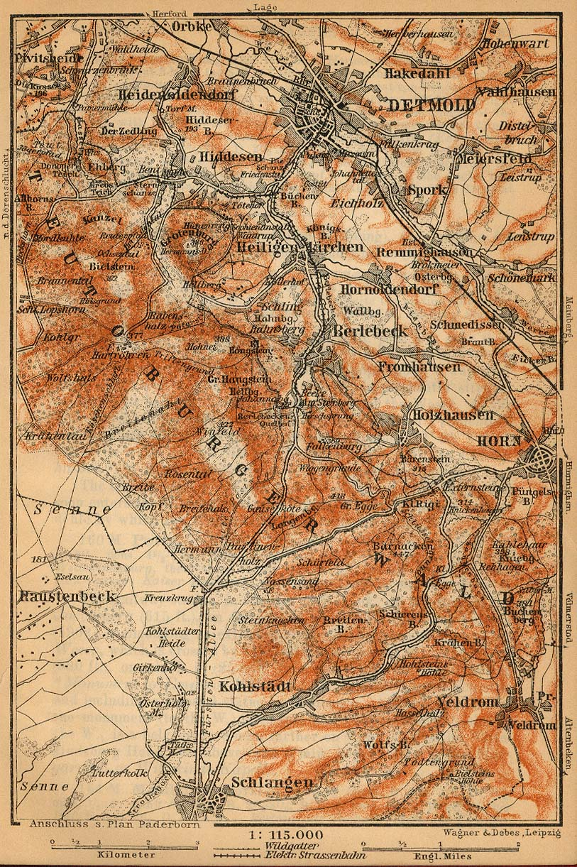 Teutoburg Forest Map, Germany 1910