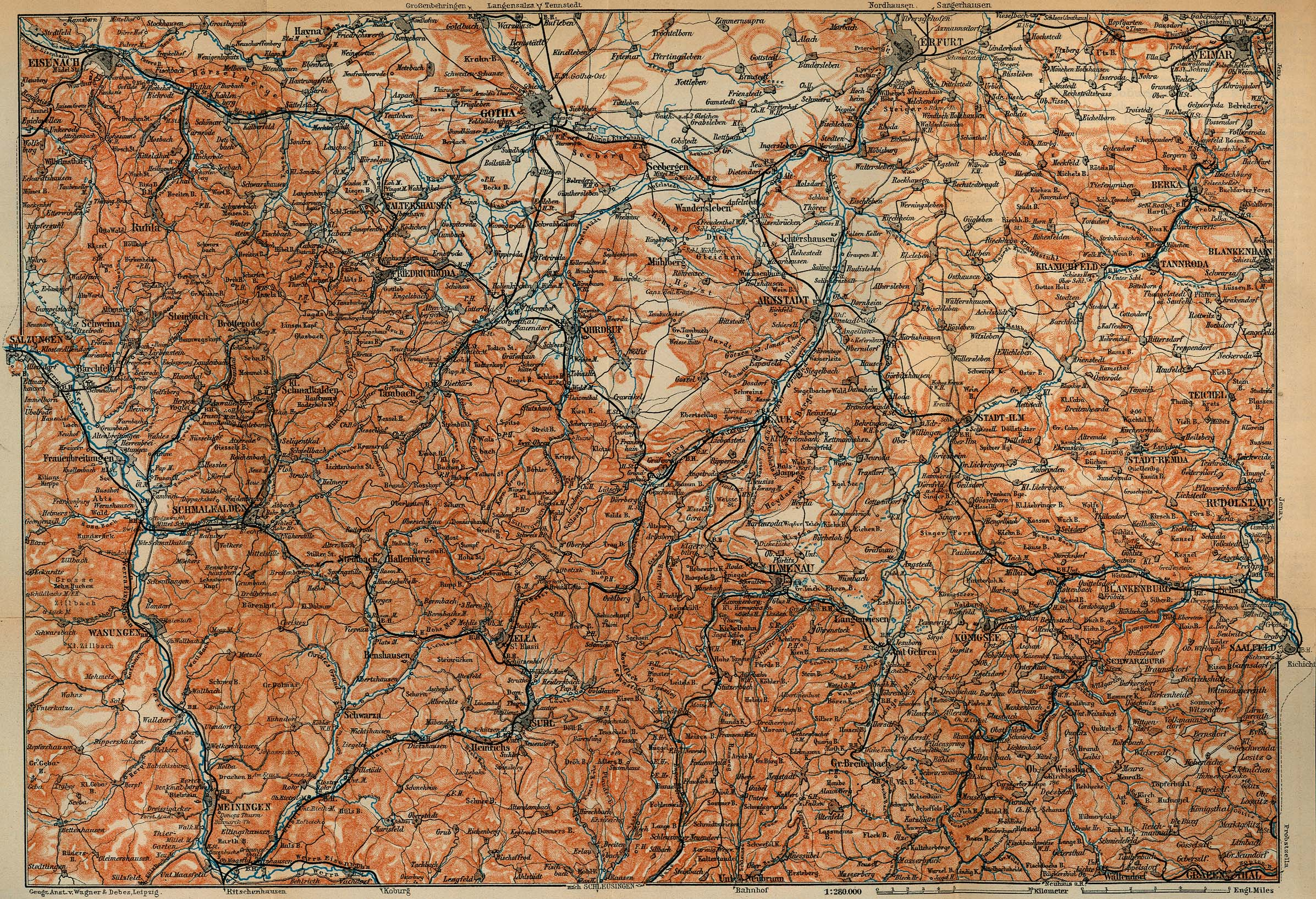 Thuringian Forest Survey Map, Germany 1910