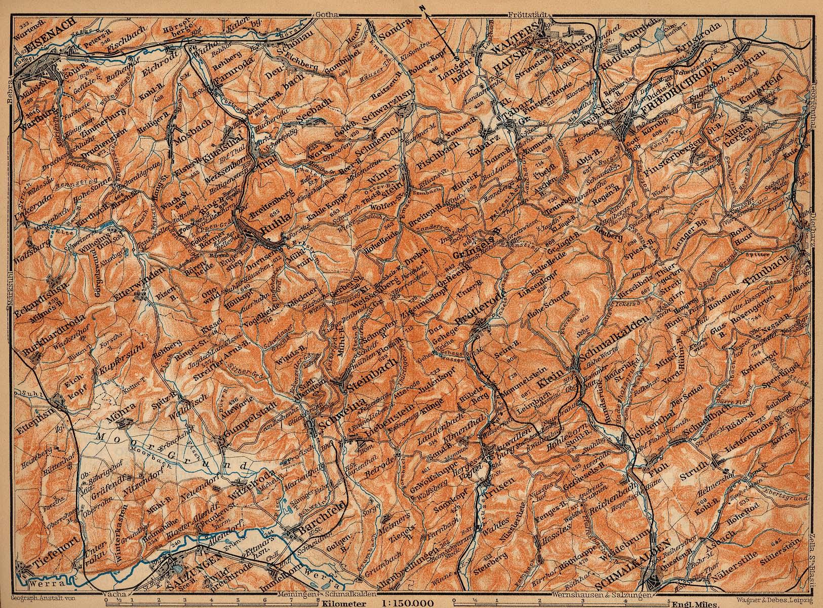 Mapa del Bosque de Thüringen, Parte Oeste, Alemania 1910