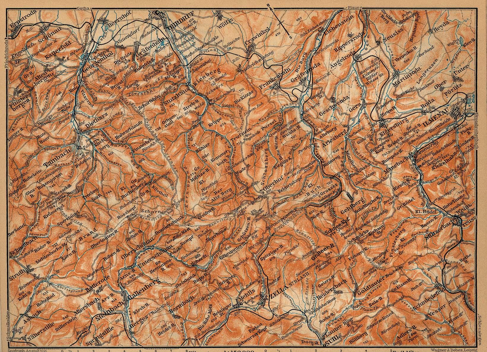 Mapa del Bosque de Thüringen, Parte Oriental, Alemania 1910