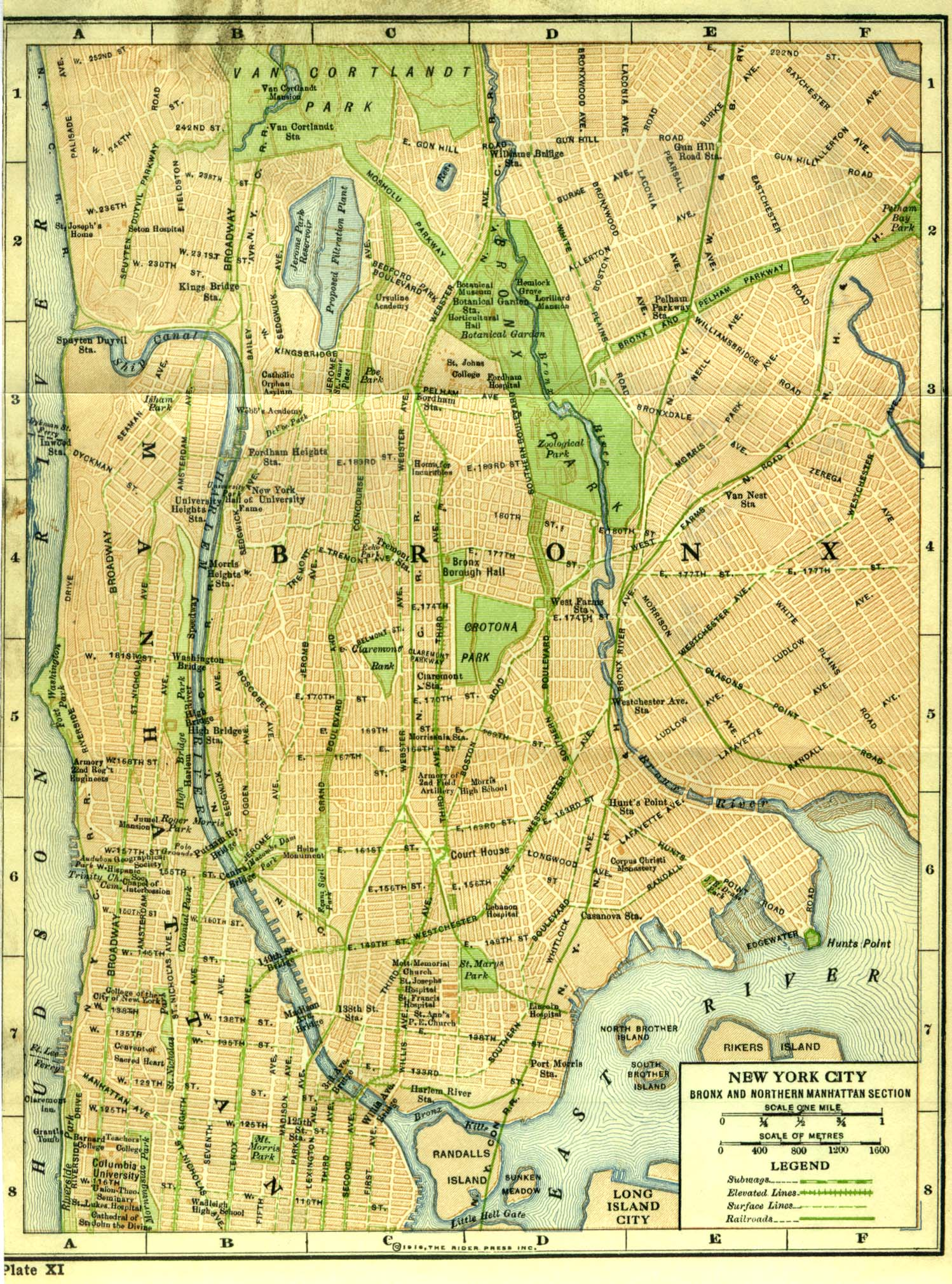 Bronx and Northern Manhattan Map, New York City, New York, United States 1916