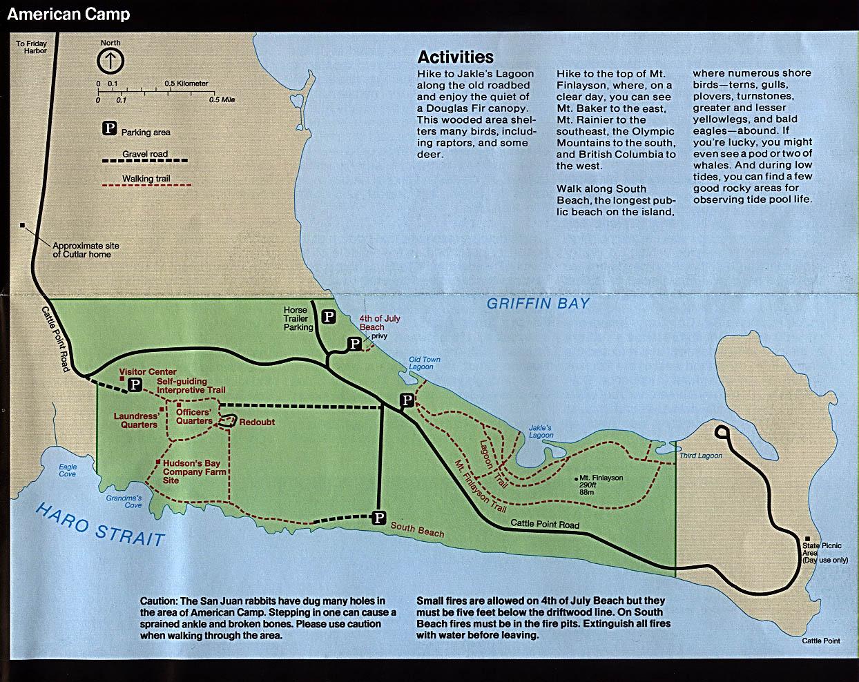 Mapa del Campamento Americano, Parque Nacional Histórico San Juan Island, Washington, Estados Unidos