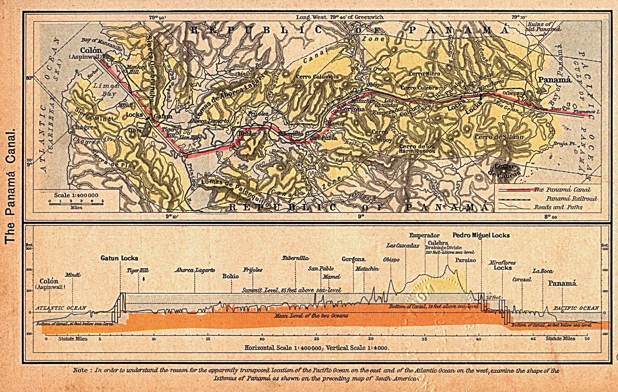 The Panama Canal Map, Panama 1923