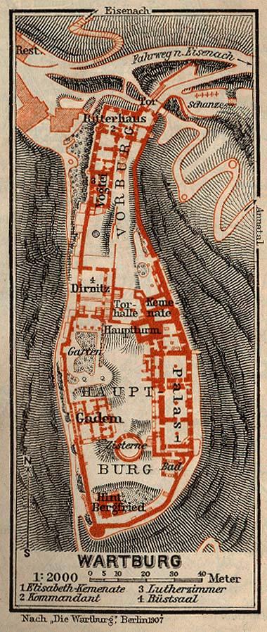 Mapa del Castillo de Guerratburg, Alemania 1910