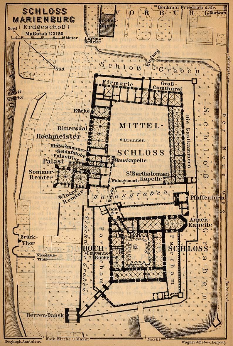 Mapa del Castillo de Marienburg, Alemania 1910