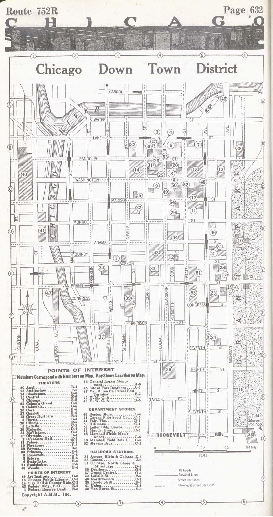 Mapa del Centro de la Ciudad de Chicago, Illinois, Estados Unidos 1917