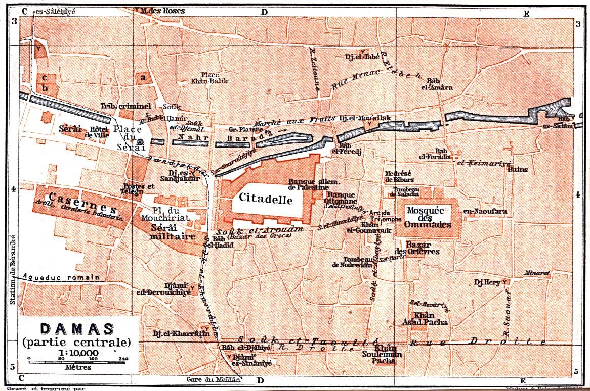 Damascus (Damas) Central City Map, Syria 1912
