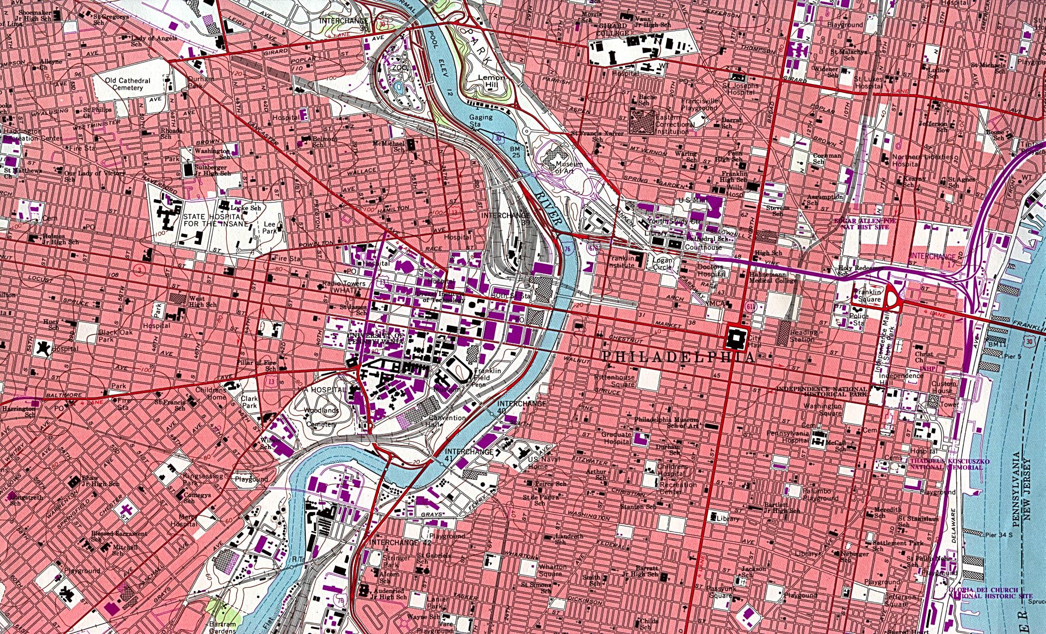 Philadelphia Downtown City Map, Pennsylvania, United States